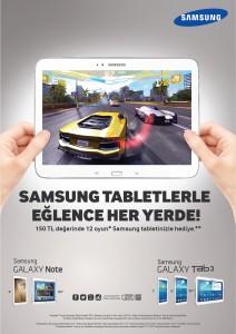 Samsung tabletlerde oyun keyfinin tadina varin